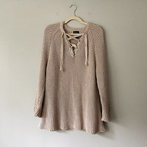 Anthropologie Pure Handknit Chunky Lace Up Sweater
